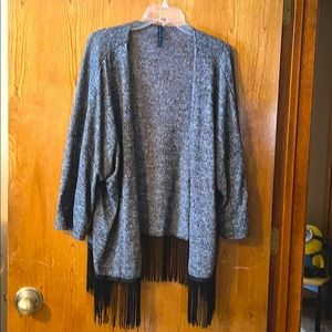 Black Fringed, open front knit cardigan, 3XL.